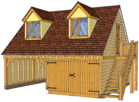 Oak framed garages from new forest oak buildings Double garage with room above